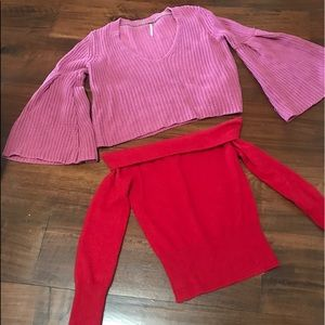 Free People bell sleeve sweater +red sweater xs